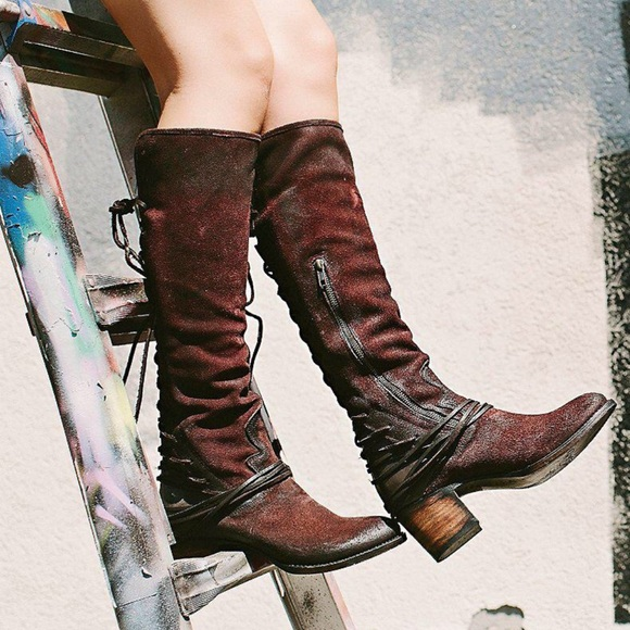 7563b9d6946 Freebird by Steven Shoes - 🎉Freebird by Steven Corset Red Wine Leather  Boots